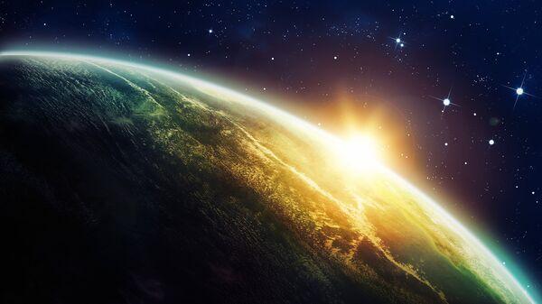 Восход Солнца из космоса. Иллюстрация