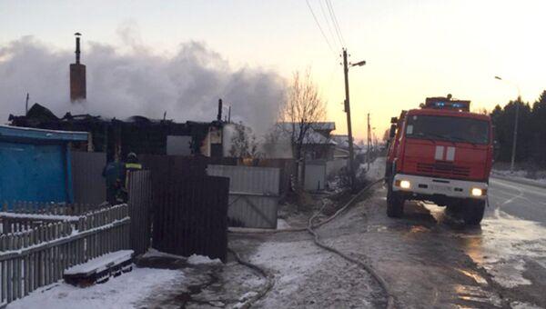 Ликвидация пожара в частном доме в Дмитровском районе Московской области. 29 ноября 2018