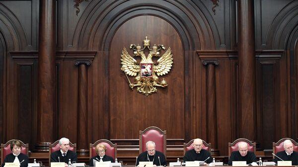 Председатель Конституционного суда РФ Валерий Зорькин на заседании по делу об административной границе между Чечней и Ингушетией в Конституционном суде РФ в Санкт-Петербурге. 6 декабря 2018