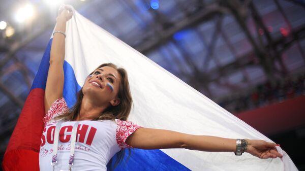 Болельщица сборной России перед матчем 1/4 финала чемпионата мира по футболу между сборными России и Хорватии