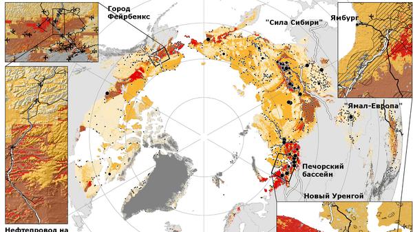 Карта таяния вечной мерзлоты и важнейшие инфраструктурные объекты заполярья