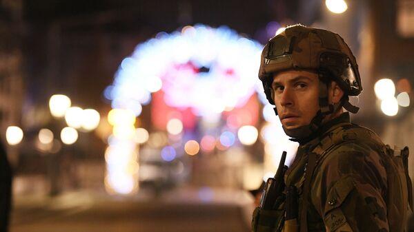 Военный после стрельбы в Страсбурге. 11 декабря 2018