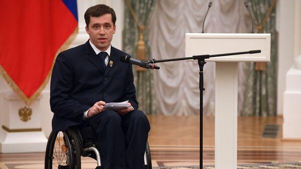 Михаил Терентьев выступает на церемонии вручения Государственных премий за выдающиеся достижения в правозащитной и благотворительной деятельности. 12 декабря 2018