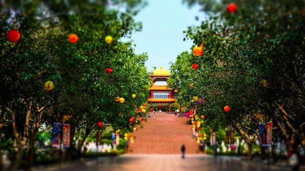 На территории монастыря Фо Гуан Сан в городе Гаосюн, Тайвань
