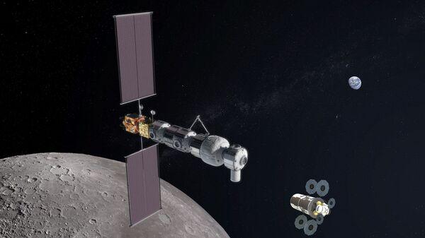 Так художник представил себе лунную орбитальную станцию и посадочный модуль