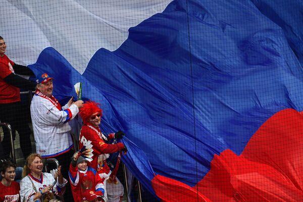 Болельщики сборной России во время матча