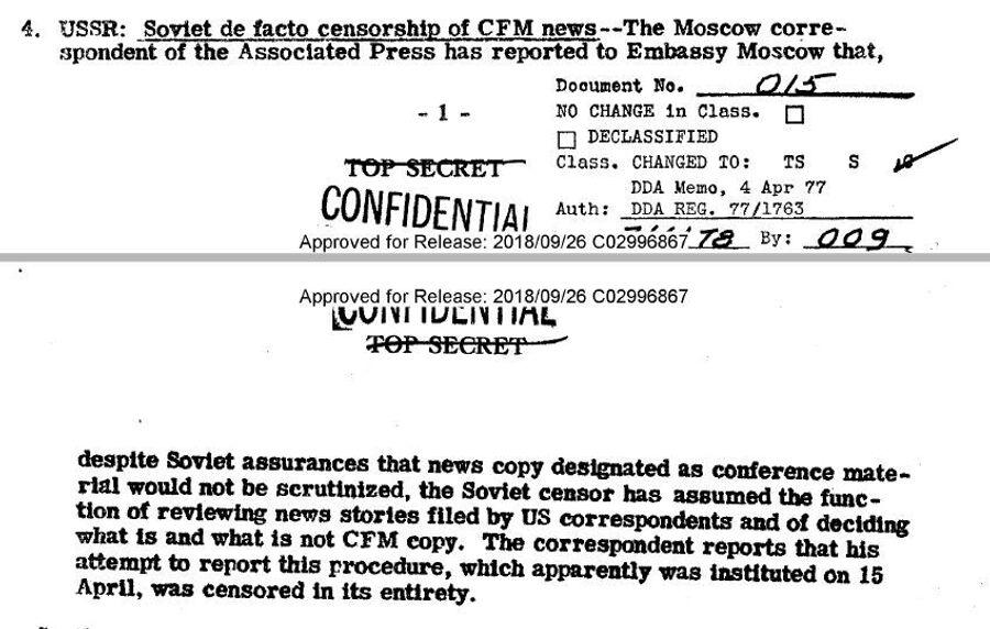 Фрагмент обзора донесений разведки США от 17 апреля 1947 года о цензурировании сообщений зарубежных корреспондентом, освещающих работу Пятой конференции министров иностранных дел в Москве