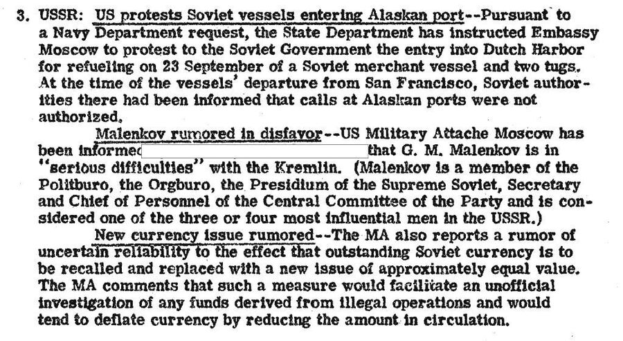 Фрагмент обзора донесений разведки США от 15 октября 1946 года с сообщением о валютной реформе в СССР