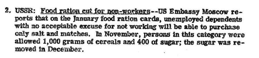 Фрагмент обзора донесений разведки США от 30 ноября 1946 года, в котором сообщается об ужесточении нормирования продовольствия в СССР