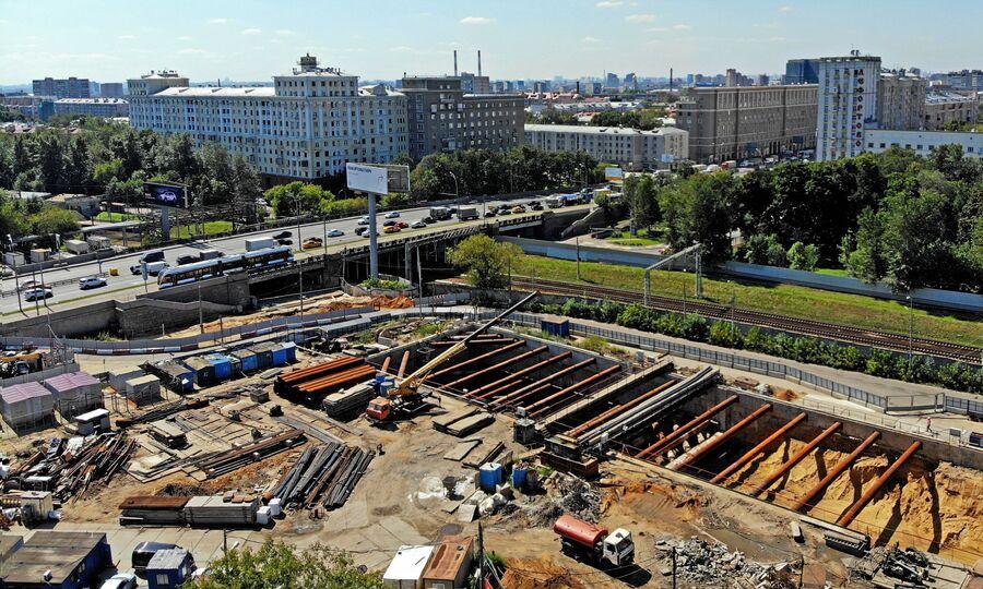 Строительство станции БКЛ Авиамоторная