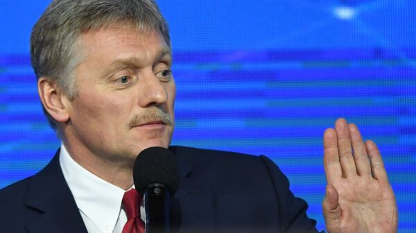 Дмитрий Песков на большой ежегодной пресс-конференции президента РФ Владимира Путина