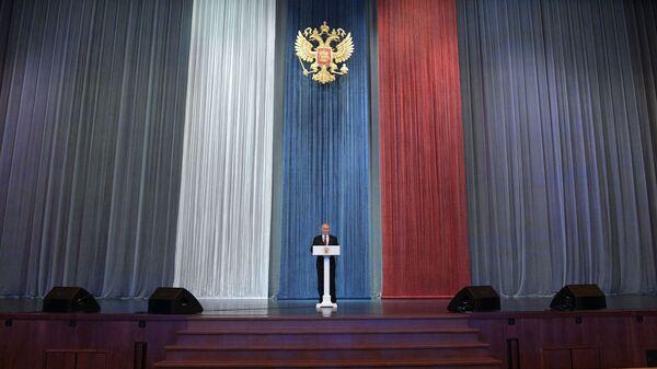 Президент РФ Владимир Путин выступает на торжественном вечере, посвящённом Дню работника органов безопасности РФ. 20 декабря 2018