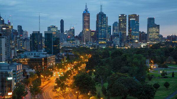 Австралия. Мельбурн. Вид на вечерний город