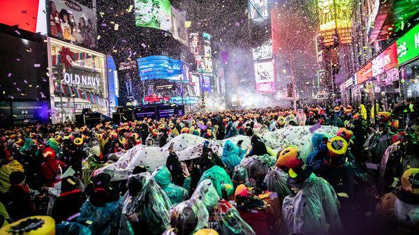 Празднование Нового Года на Таймс-сквер в Нью-Йорке. 31 декабря 2018