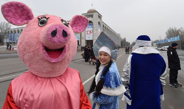 Новогодний парад в Бишкеке, Кыргызстан
