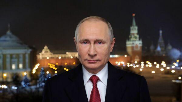 Президент РФ Владимир Путин во время новогоднего обращения к россиянам в канун 2019 года