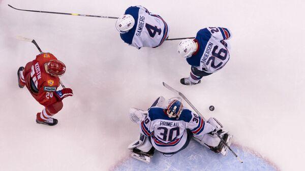 Капитан сборной России Клим Костин в матче с американцами