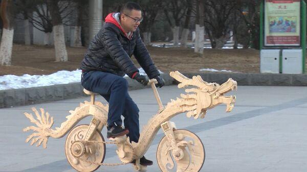 Велосипед из 22000 палочек для эскимо. Необычная поделка китайского конструктора
