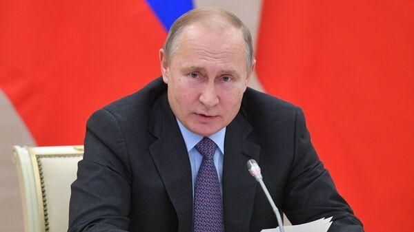Президент РФ Владимир Путин проводит совещание по вопросу создания  культурно-образовательных и музейных комплексов во Владивостоке, Калининграде, Кемерове и Севастополе. 8 января 2019