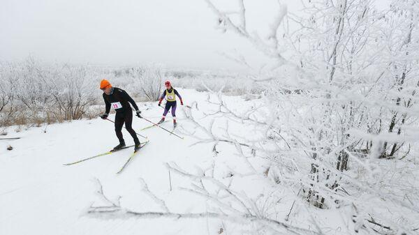 Участники лыжных гонкок в Волгограде