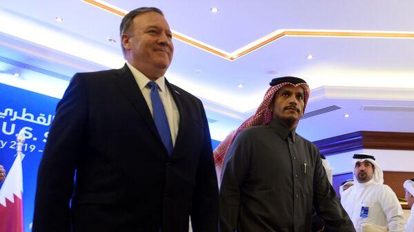 Государственный секретарь США Майк Помпео и глава МИД Катара Мухаммед бен Абдеррахман Аль Тани в Дохе, Катар