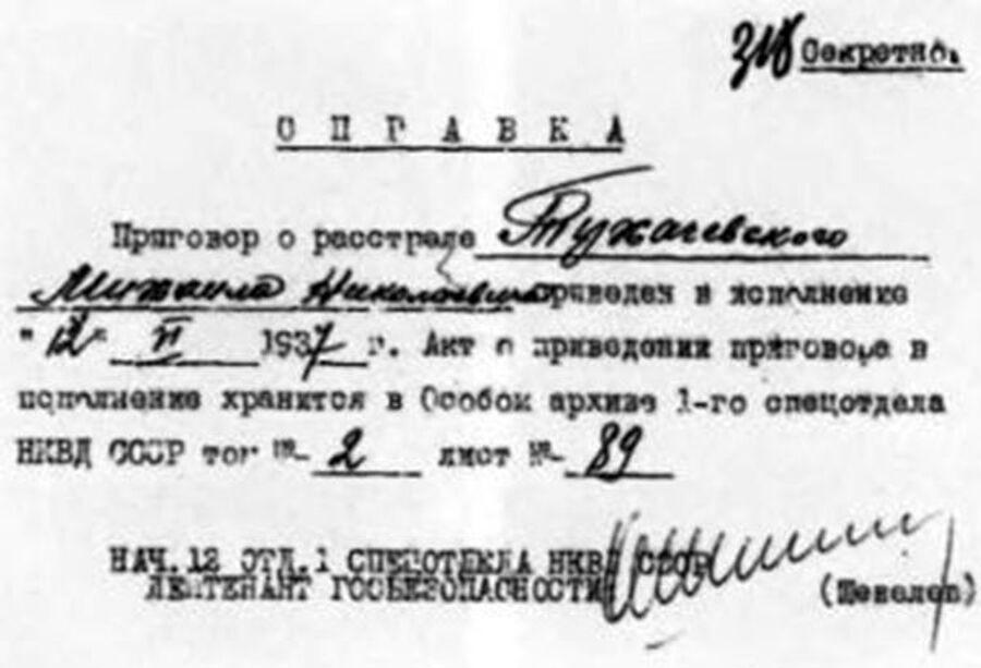 Справка об исполнении приговора в отношении Михаила Тухачевского