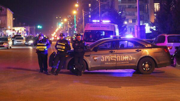 Полиция в районе  Диди Дигоми на окраине Тбилиси, где произошел взрыв газа