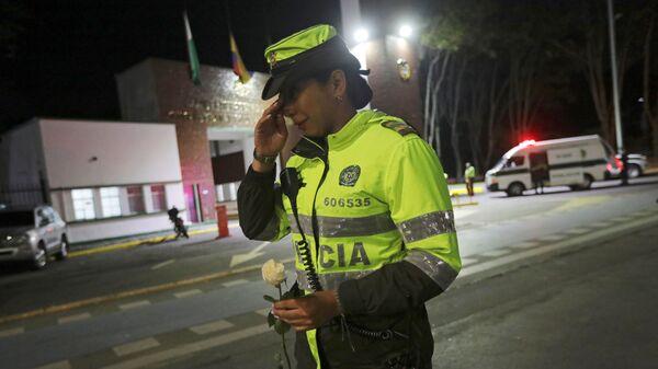 У здания кадетской школы полиции в Боготе, где произошел взрыв