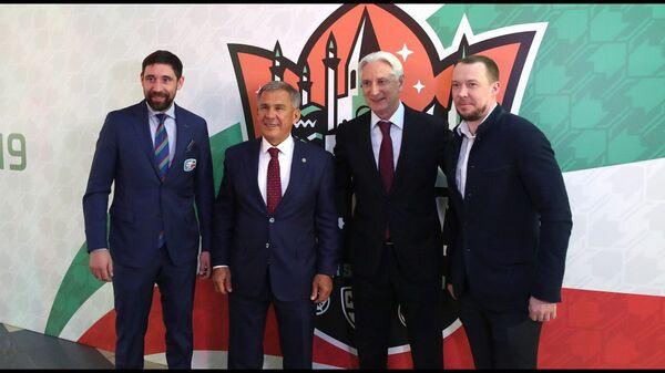 Данис Зарипов, Рустам Минниханов, Зинэтула Билялетдинов и Сергей Мозякин (слева направо)