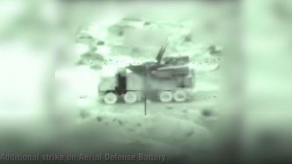 Скриншот видеозаписи уничтожения двух установок ПВО Сирии. 21 января 2019