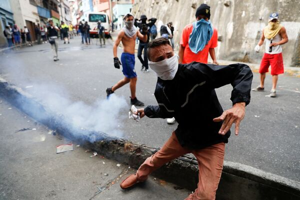 Беспорядки у штаб-квартиры национальной гвардии Венесуэлы в Каракасе. 21 января 2019