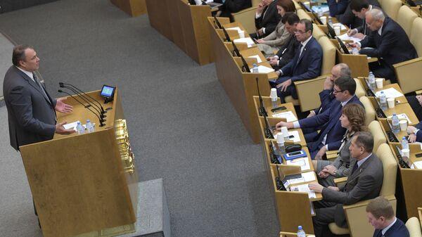 Заместитель председателя Государственной Думы РФ Петр Толстой выступает на пленарном заседании Государственной Думы РФ. 22 января 2019