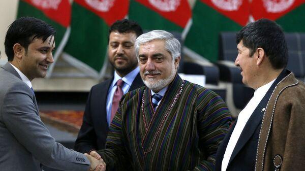Премьер-министр Афганистана Абдулла Абдулла на регистрации кандидатов на президентских выборах в Кабуле, Афганистан. 20 января 2019