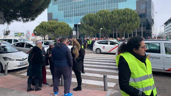Забастовка таксистов с Мадриде, Испания.