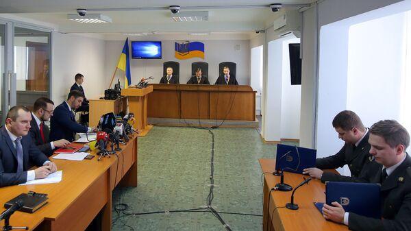 Судебное заседание в Оболонском районном суде города Киева, на котором зачитывается приговор экс-президенту Украины Виктору Януковичу. 24 января 2019