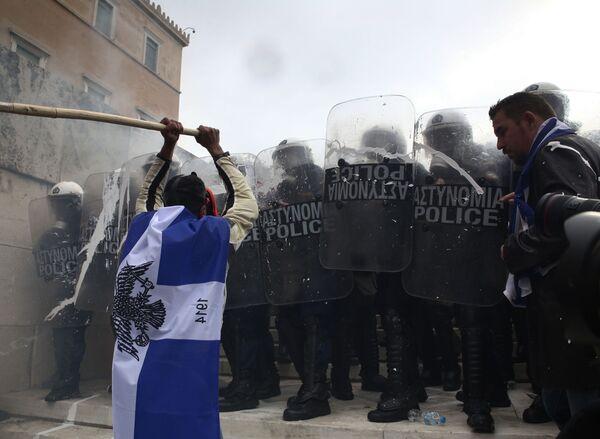 Акция в Афинах против соглашения Греции и Македонии