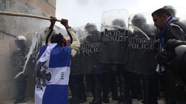 Протестная акция в Афинах