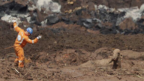 Спасатель пытается добраться до коровы, которая застряла в грязи, после прорыва плотины в Брумадинью, Бразилия. 27 января 2019 года
