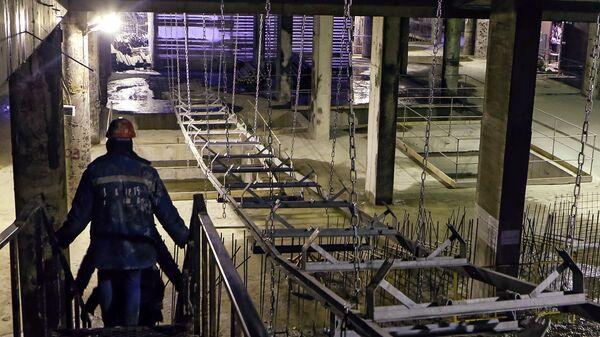 Строительство станции метро Новокрестовская в Санкт-Петербурге