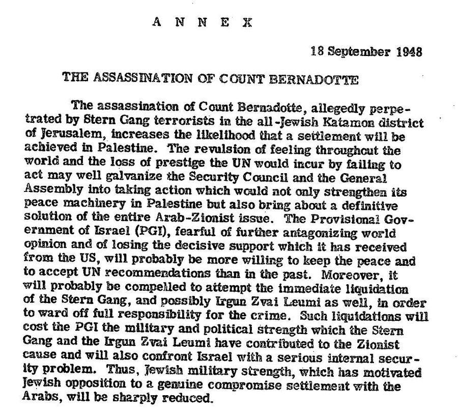 Приложение к ежедневной сводке сообщений ЦРУ для президента Гарри Трумэна от 18 сентября 1948 года с анализом ситуации в связи с убийством в Иерусалиме графа Бернадота