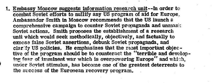 Сообщение ЦРУ от 17 ноября 1947 года с предложением создать при посольстве США в Москве специальное подразделение для борьбы с советской пропагандой