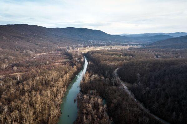 Река Псекупс и село Безымянное в Краснодарском крае