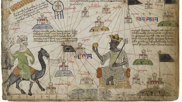 Каталонский Атлас, опубликованный в 1375 году, изображает самого богатого человека своего времени Мансу Мусу