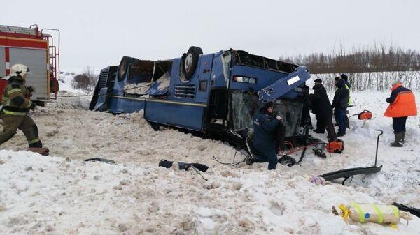 На месте ДТП с автобусом в Калужской области. 3 февраля 2019