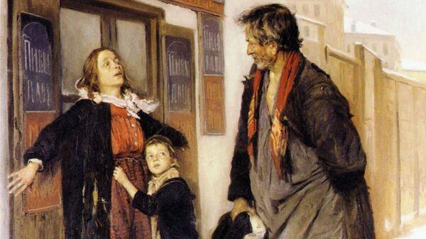 Репродукция картины  В. Е. Маковского Не пущу!, 1892 год