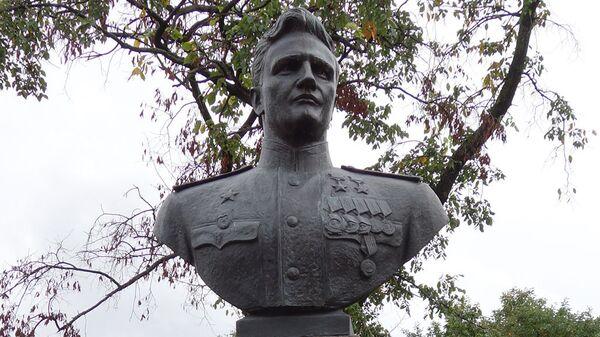 Памятник летчику Василию Ракову в Московском парке Победы в Санкт-Петербурге