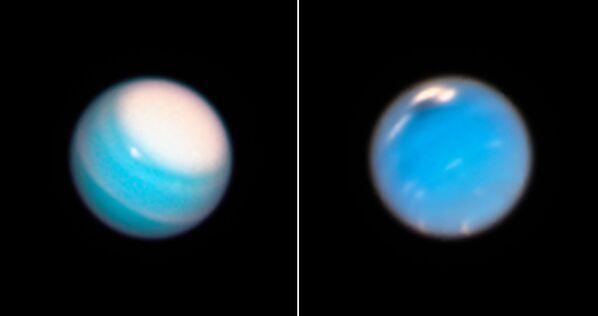 Вечный ураган на Уране (слева) и загадочное темное пятно на Нептуне (справа)