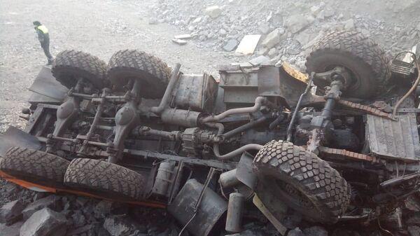 Место ДТП на технологической дороге разреза Распадский  в Кемеровской области. 8 февраля 2019