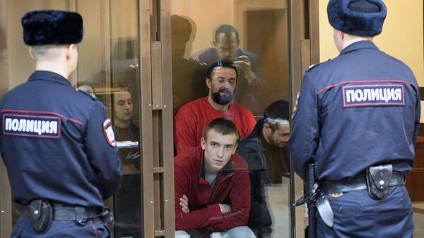 Задержанные украинские моряки во время рассмотрения Московским городским судом жалобы на продление ареста. 12 февраля 2019