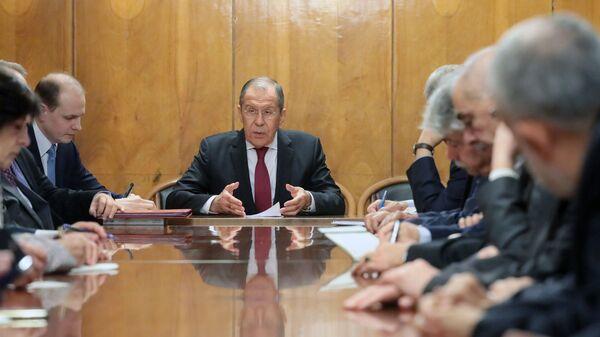Глава МИД РФ Сергей Лавров на встрече в Москве с участниками Межпалестинского диалога. 12 февраля 2019